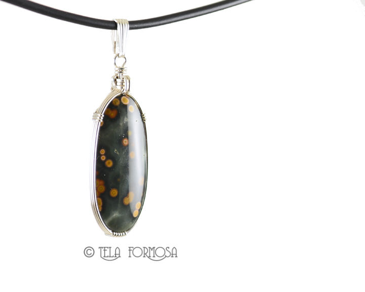Ocean Jasper Pendant Green Orange Wire Wrapped Natural Stone Cabochon Sterling Silver - product images  of