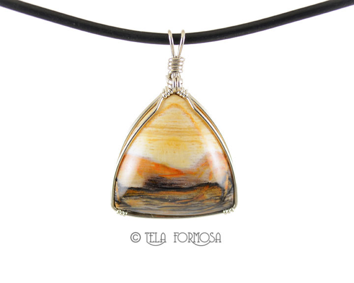 Wire Wrapped Opalized Petrified Wood Pendant Fossil Handmade Sterling Silver Stone Pendant  - product images  of
