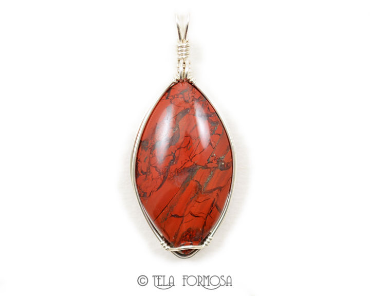 Brecciated Red Jasper Hematite Wire Wrapped Pendant Natural Stone Cabochon Sterling Silver - product images  of