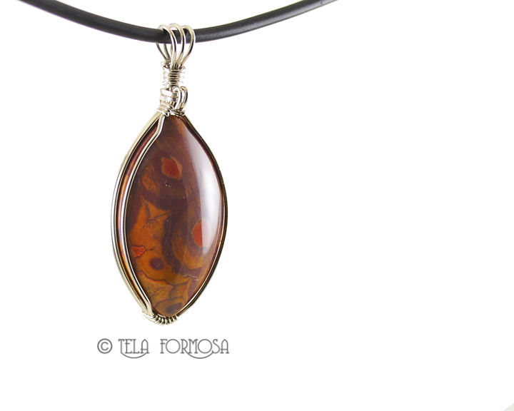 Morgan Hill Poppy Jasper Pendant Sterling Silver Wire Wrapped Cabochon Jewelry Handmade - product images  of