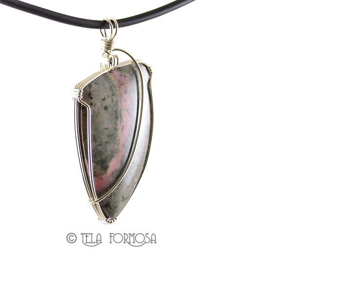 Pink and Gray Thulite Pendant Zoisite Natural Stone Handmade Sterling Silver Wire Wrapped - product images  of
