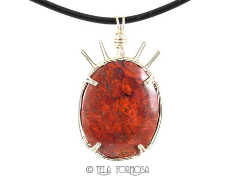 Sonoran,Crimson,Cuprite,Red,Pendant,Handmade,Wire,Wrapped,Natural,Stone,Cabochon,Jewelry,SS,Rare, Sonoran sunrise, sonoran, Crimson Cuprite,cuprite,crimson cuprite Pendant, cuprite pendant, red pendant, Handmade, Wire Wrapped,  wire wrap, Natural Stone, Cabochon Jewelry, stone cabochon