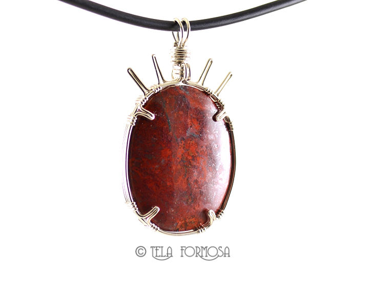 Sonoran Crimson Cuprite Red Pendant Handmade Wire Wrapped Natural Stone Cabochon Jewelry SS - product images  of