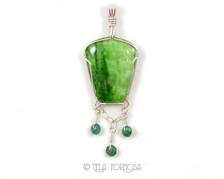 Rare Green Tremolite and Emerald Pendant Sterling Silver Wire Wrapped Natural Stone - product images  of