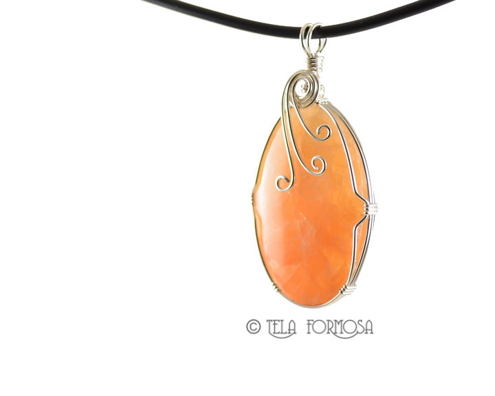 Pretty Tangerine Orange Calcite Pendant Sterling Silver Wire Wrapped Natural Cabochon Jewelry - product images  of
