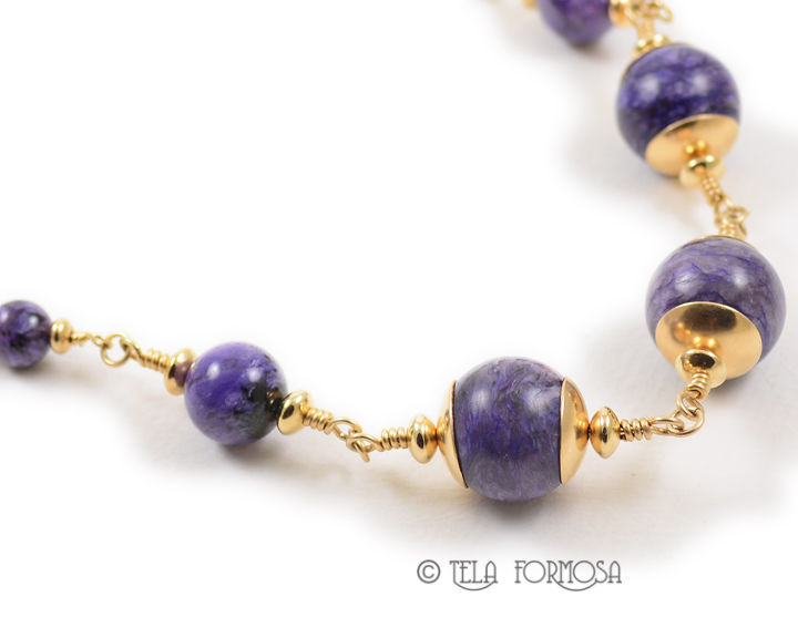 Rare Purple Charoite Bead Necklace 20 inches Large 16mm Focal Beads 14K GF Handmade  - product images  of