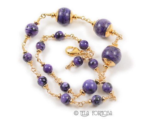 Rare,Purple,Charoite,Bead,Necklace,20,inches,Large,16mm,Focal,Beads,14K,GF,Handmade, Purple, Charoite, charoite Bead, bead necklace, charoite bead necklace, Necklace, 20 inches, Large, 16mm, Focal Beads, 14K GF, Handmade