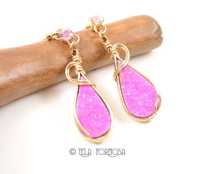 Hot Pink Druzy Cobalto Calcite Earrings Natural Stone Cabochon 14k Gold Wire Wrapped - product images  of