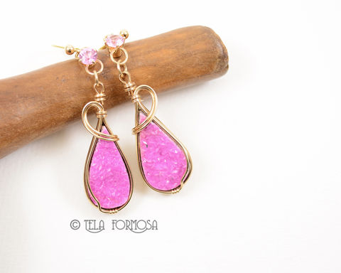 Hot,Pink,Druzy,Cobalto,Calcite,Earrings,Natural,Stone,Cabochon,14k,Gold,Wire,Wrapped,cobalto calcite, cobalto calcite earrings, natural druzy, druzy, pink stone, pink, hot pink, pink earrings, natural, handmade, wire wrapped, 14k gold, rare, modern