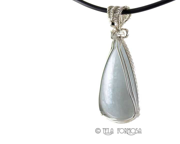Shimmering Aquamarine Pendant Sterling Silver Wire Wrapped Handmade Cabochon Jewelry - product images  of