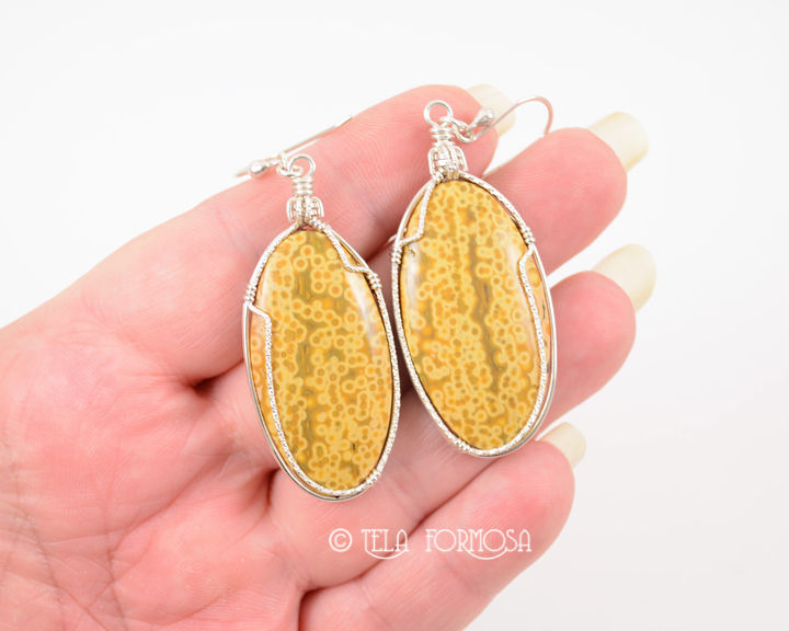 Yellow Ocean Jasper Earrings Handmade Cabochon Jewelry Sterling Silver - product images  of