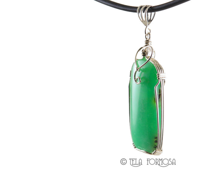 Australian Chrysoprase Pendant Sterling Silver Handmade Cabochon Jewelry - product images  of