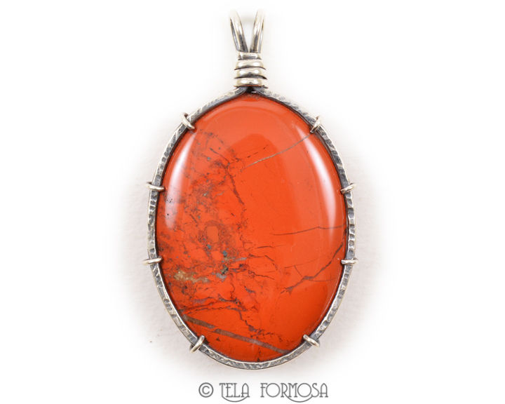 Red River Brecciated Red Jasper Wire Wrapped Pendant Natural Stone Cabochon Sterling Silver - product images  of
