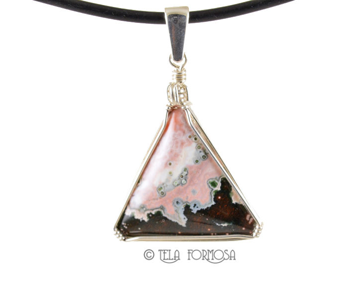 Rare Pink & Black Ocean Jasper Pendant Wire Wrapped Sterling Silver Cabochon Jewelry - product images  of
