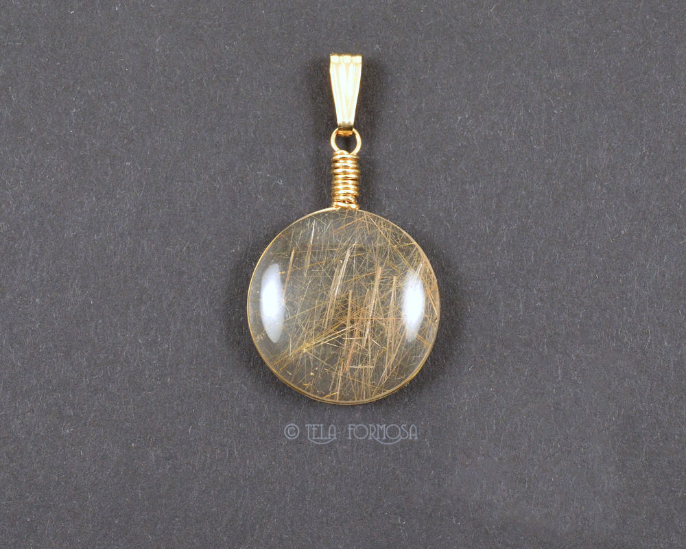 Rutilated Quartz Pendant Angel Hair Natural Stone Cabochon 14K GF Handmade Wire Wrapped - product images  of