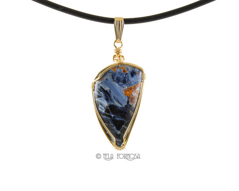 African,Blue,Pietersite,Pendant,Stone,Cabochon,14K,Gold,Filled,Wire,Wrapped,Wire_Wrapped_Pendant,pietersite_Pendant,Chatoyant,Blue_Stone_Pendant,stone_pendant,Cabochon_Pendant,Handmade,Wire_Wrapped_Jewelry,wire_wrapped,blue_stone,14K Gold Filled,Namibia African