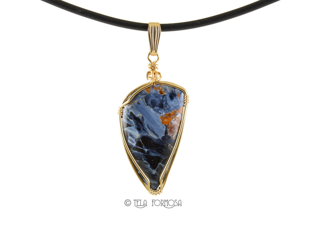 African Blue Pietersite Pendant Blue Stone Cabochon 14K Gold Filled Wire Wrapped - product images  of