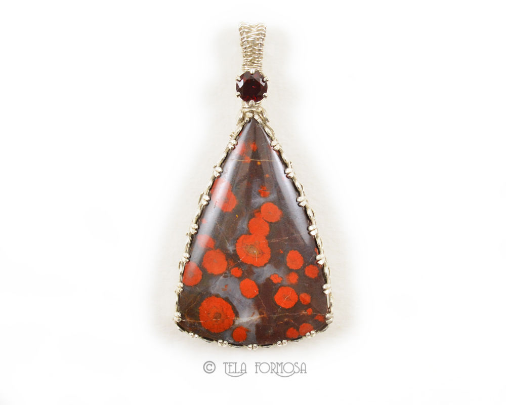 Morgan Hill Poppy Jasper Pendant w/ Ant Hill Garnet Sterling Silver Semi Precious Cabochon - product images  of