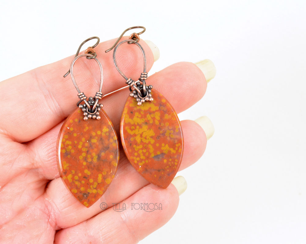 Orange and Yellow Ocean Jasper Earrings Wire Wrapped in Aniqued Copper Stone Earrings - product images  of
