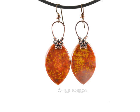 Orange,and,Yellow,Ocean,Jasper,Earrings,Wire,Wrapped,in,Aniqued,Copper,Stone,Rare, orange and yellow,Ocean Jasper earrings, ocean jasper, rare ocean jasper, jasper earrings, Wire Wrapped, wirewrapped, wire wrap, Sterling Silver, stone Jewelry, stone earrings