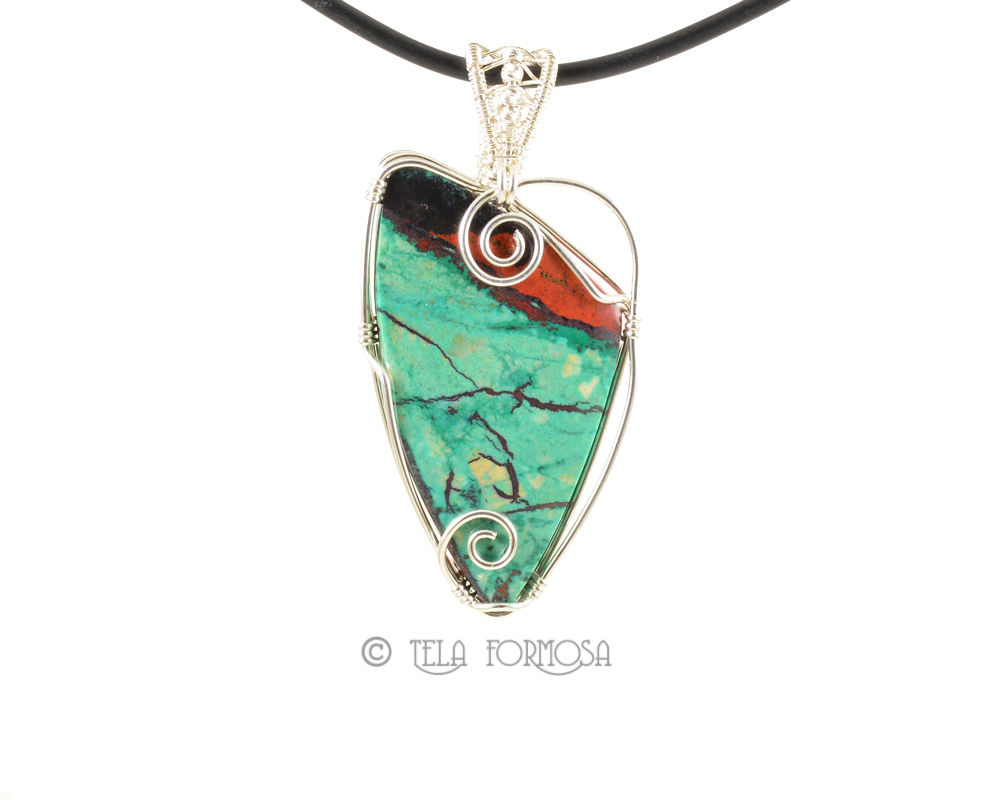 Old Dig Sonora Sunrise Pendant Wire Wrapped Sterling Silver Handmade Natural Stone Cabochon - product images  of