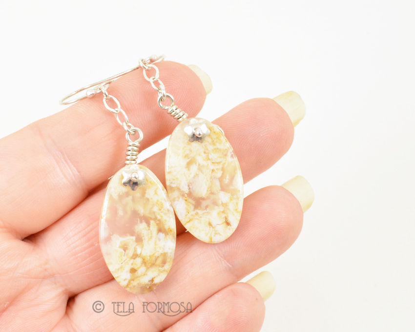White Idaho Plume Agate Light Stone Earrings Wire Wrapped Sterling Silver - product images  of