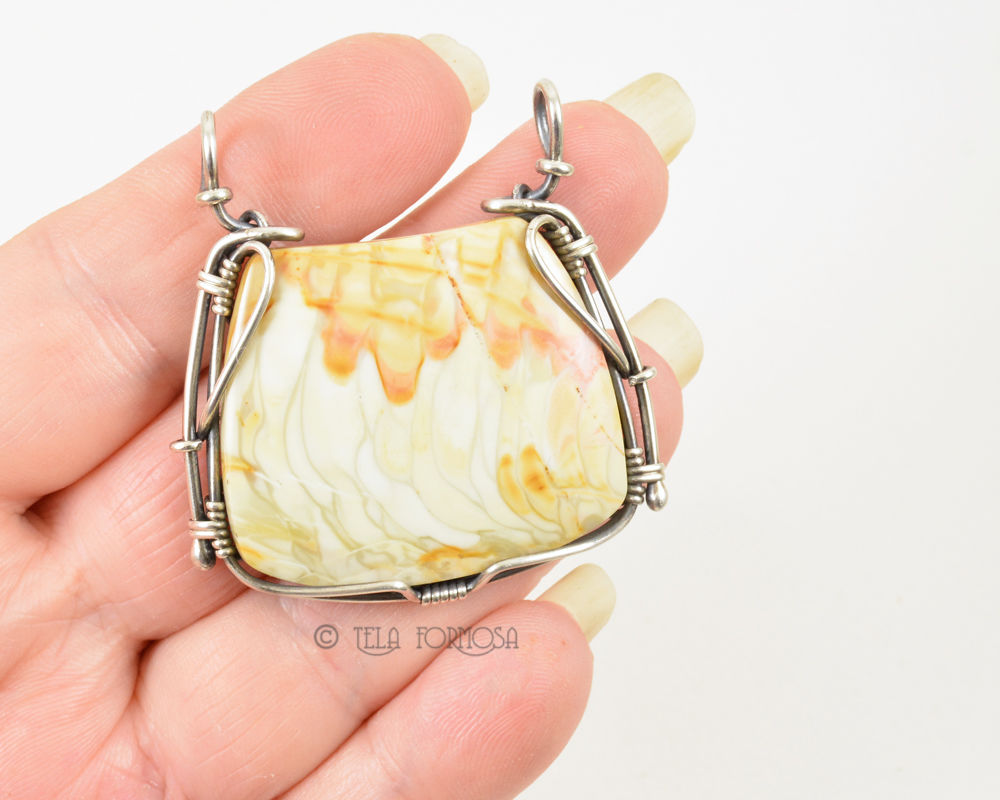 Unique Willow Creek Jasper Pendant Natural Stone Handmade Sterling Silver Wire Wrapped - product images  of
