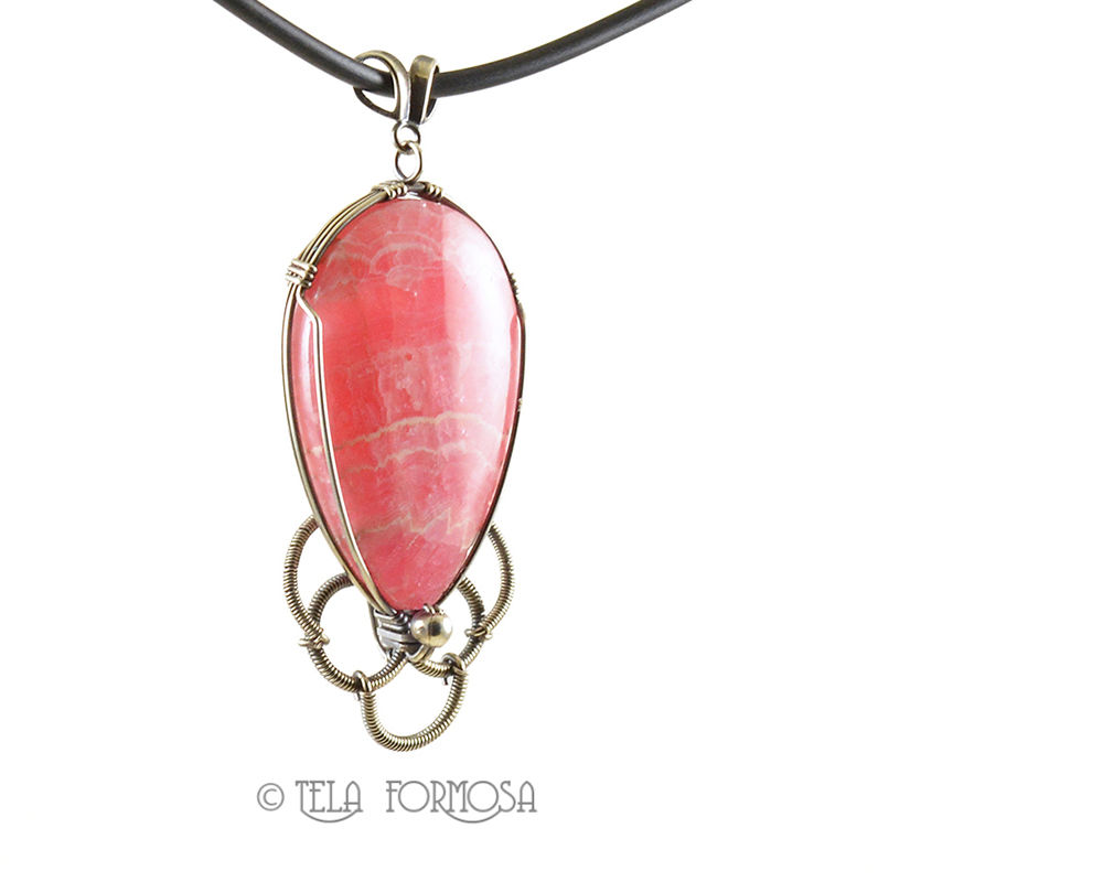 Rhodochrosite Pendant Large Pink Natural Stone Cabochon Jewelry Sterling Silver Wire Wrapped - product images  of