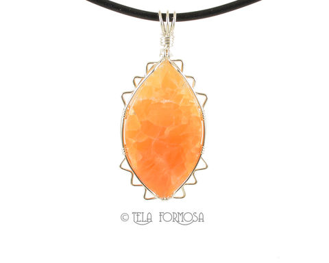 Pretty,Tangerine,Orange,Calcite,Pendant,Sterling,Silver,Wire,Wrapped,Natural,Cabochon,Jewelry,natural cabochon,orange, tangerine, Calcite Pendant, orange calcite, calcite, Sterling Silver, Wire Wrapped, Handmade, Wire Wrap, cabochon pendant, cabochon jewelry, orange jewelry