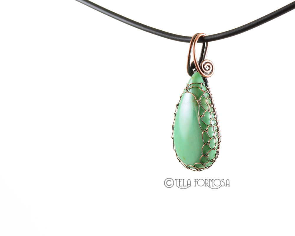 Australian Chrysoprase Pendant Netted and Woven in Copper Handmade Wire Wrapped  - product images  of