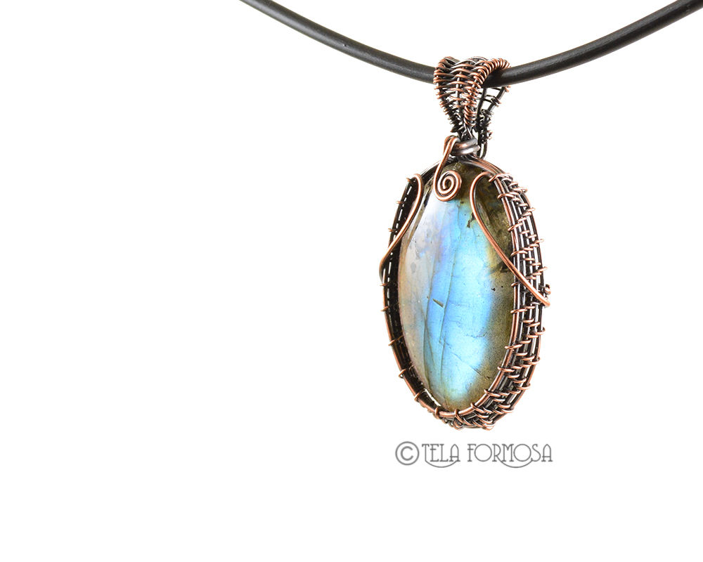 FLASHY Blue Labradorite Pendant Wire Wrapped in Copper Weave Woven Handmade - product images  of