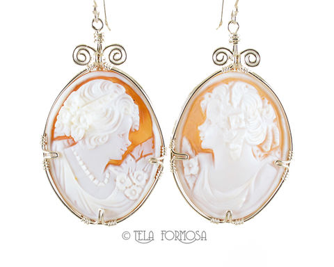 LARGE,Hand,Carved,Shell,Cameo,Earrings,Sterling,Silver,Handmade,Wire,Wrapped,Jewelry,Wire_Wrapped_earrings,Shell_Cameo,cameo_earrings,Handcarved,sterling silver,Wire_Wrapped_Jewelry,Wire_Wrap,wire_wrapped