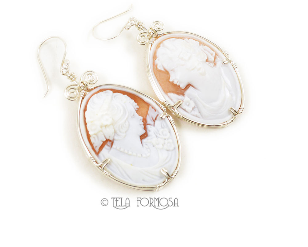 LARGE Hand Carved Shell Cameo Earrings Sterling Silver Handmade Wire Wrapped Jewelry  - product images  of