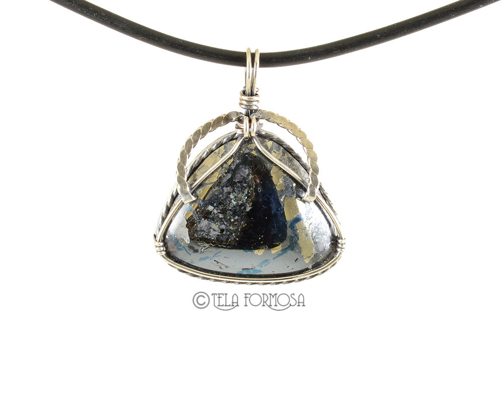 Rare Metallic Blue Montana Covellite Pendant Wire Wrapped Cabochon Sterling Silver Handmade - product images  of