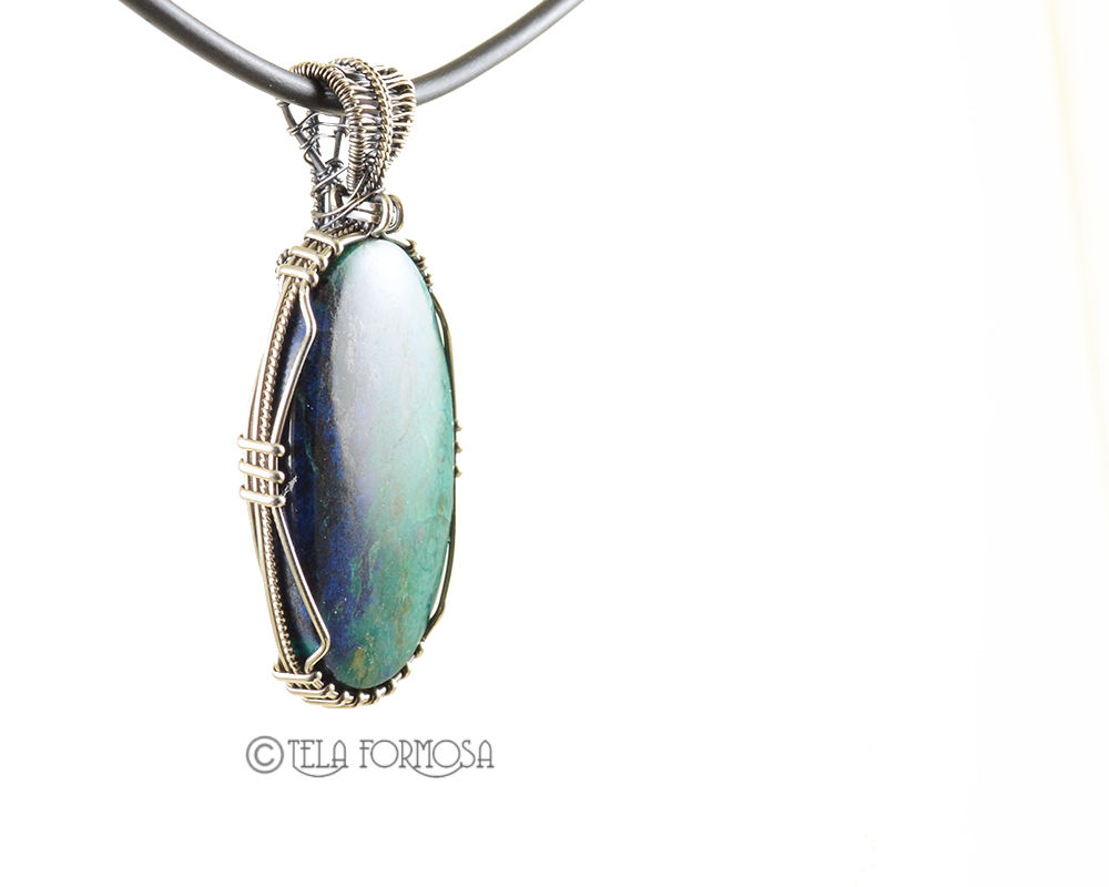 Chrysocolla Azurite Pendant AZ Sterling Silver Wire Wrapped Cabochon Jewelry Handmade - product images  of