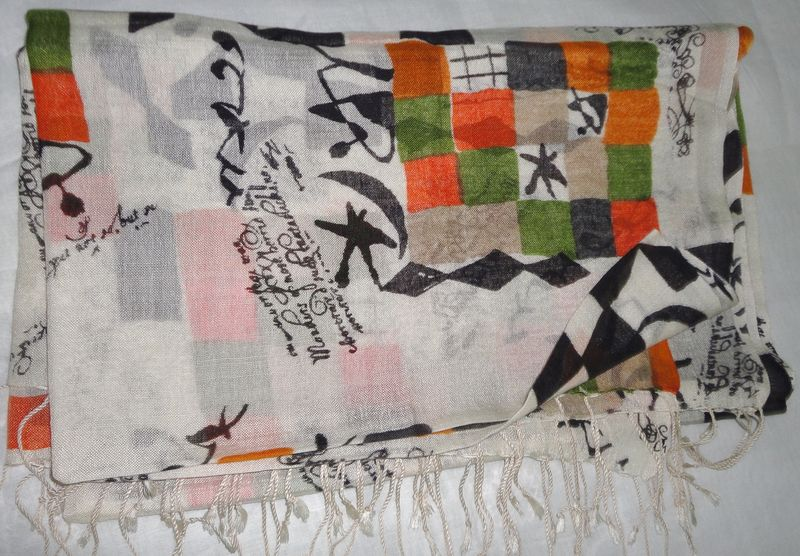 Abstract Print Silk Wool Off White Scarf/Wrap - product image
