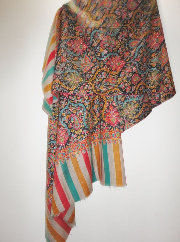 Printed Kani Design Hand Embroidered Handwoven Pashmina Shawl - product image