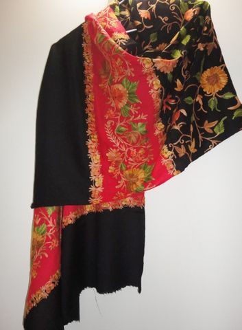 Black,and,Red,Woollen,Stole,with,Multicolor,Floral,Jaal,in,Aari,Work,Kashmiri stole, Aari work, Black Red stole, Oriental Wrap, Embroidered stole