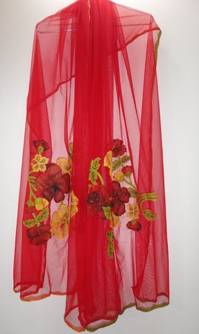Scarlet,Red,Long,Handmade,Net,Scarf,with,Phool-Patti,Applique,red scarf, phool patti scarf, long scarf, red net scarf, applique scarf, red wrap
