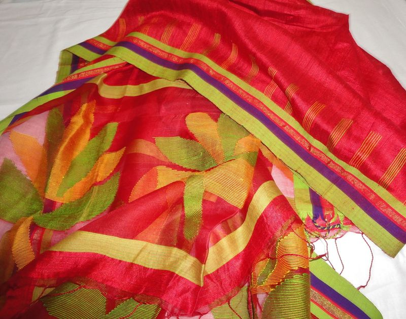 Red Muslin Jamdani and Handloom Silk Woven Wrap/Shawl/Stole - product image