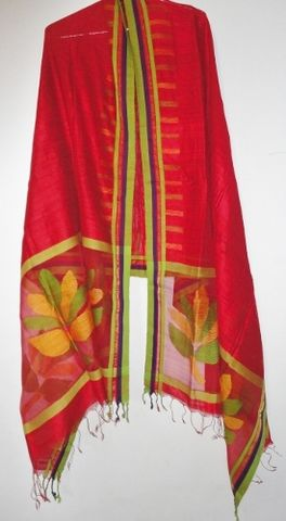 Red,Muslin,Jamdani,and,Handloom,Silk,Woven,Wrap/Shawl/Stole,Red shawl, silk wrap, weaver, karigar, jamdani, muslin, handloom silk stole