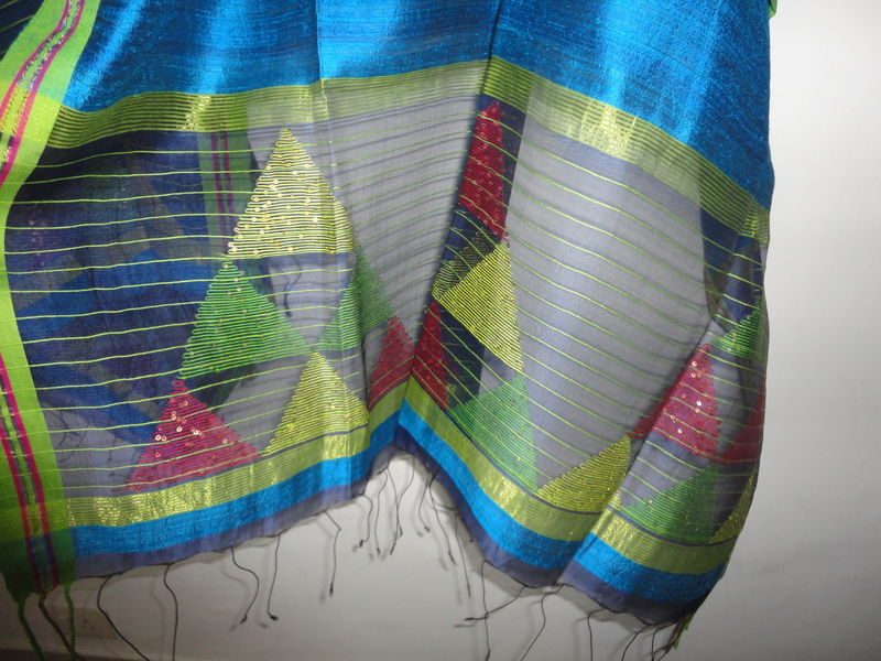 Peacock Blue Muslin Jamdani and Handloom Silk Woven Wrap/Shawl/Stole - product image