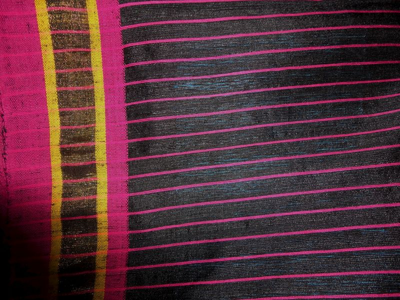 Black Ghicha Matka Silk Saree with Multicolour Pallu and Striped Blouse - product image