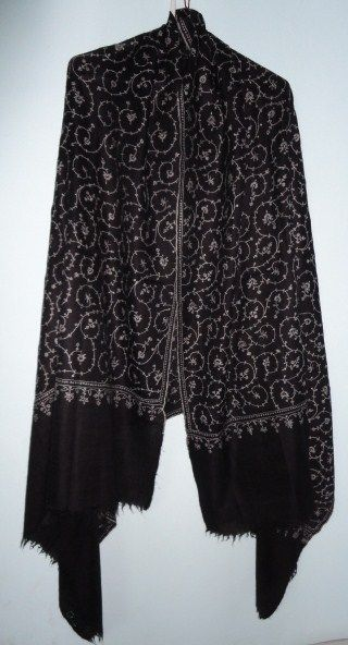 Pure Pashmina Shawl in Black Hand Woven Hand Embroidered Jaal - Classic series  - product image