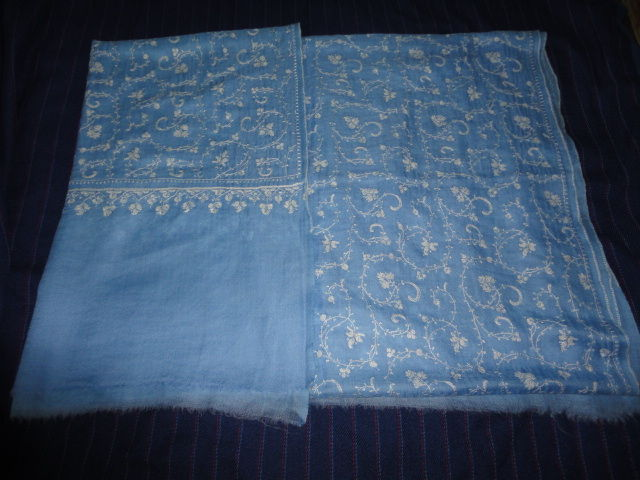 Pure Pashmina Shawl in Blue Hand Woven Hand Embroidered Jaal - Classic series - product image