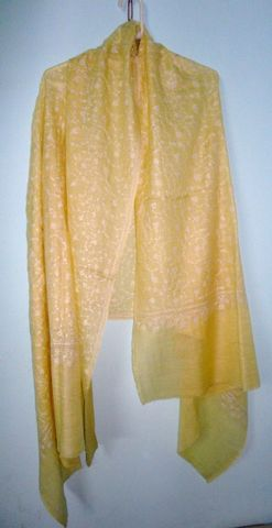 Pure,Pashmina,Shawl,in,Yellow,Hand,Woven,Embroidered,Jaal,-,Classic,series,Yellow Pashmina Shawl, Embroidered Pashmina Shawl, Loose weave Pashmina