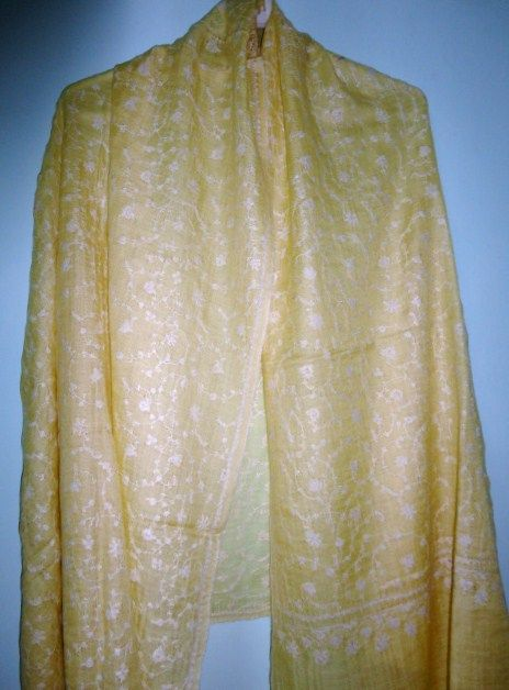 Pure Pashmina Shawl in Yellow Hand Woven Hand Embroidered Jaal - Classic series - product image