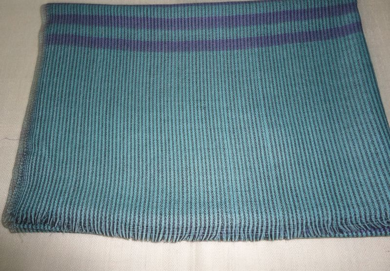 Unisex Lighweight Soft Fine Wool Striped Blue Scarf/Stoles - product image