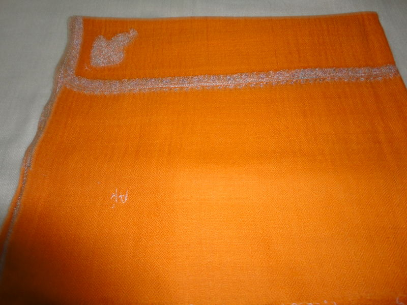 Orange Handwoven Loose Weave Pure Pashmina Hand Embroidered Stole - product image