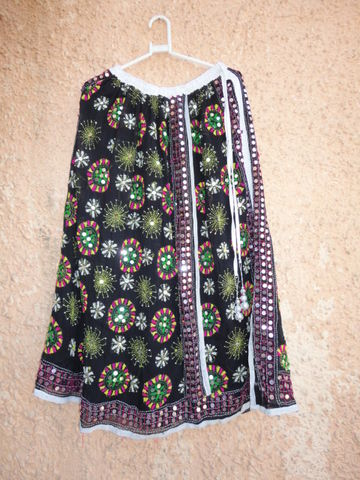 Bohemian,Black,Gypsy,Skirt,for,Girls,in,Georgette,Girls skirt, skirt for women, long skirt, Indian gypsy skirt, hand embroidered skirt, boho gypsy skirt, banjara skirt, fabstolesnmore, Georgette Skirt, Traditional Gypsy Skirt
